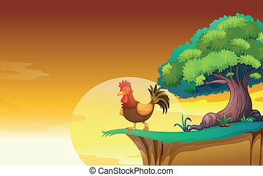 A hen - illustration of a hen in a beautiful nature