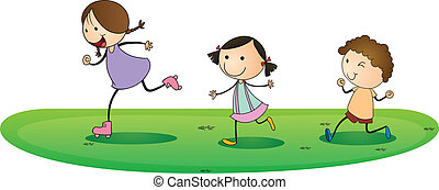 kids playing outdoor - illustration of a kids playing...