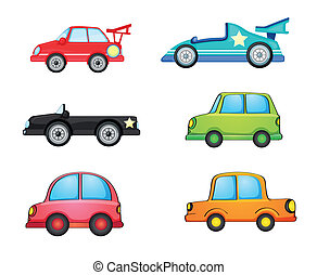 cars - illustration of various cars on a white background