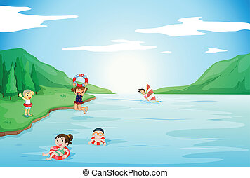 kids swimming in water - illustration of kids swimming in...