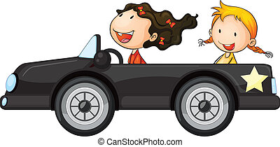 Girls and a car - illustration of a girls and a car on a...