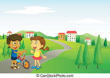 kids and road - illustration of kids and road in a beautiful...