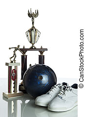 Bowling ball, shoes and tropies - Bowling ball, shoes and...