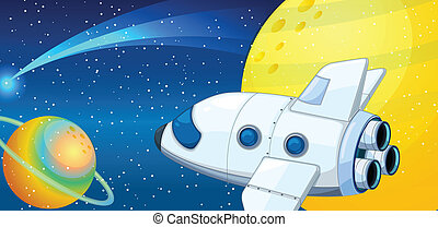 space shuttle - illustration of a space shuttle in universe...