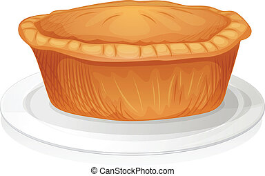 brown cake - illustration of brown cake on a white...