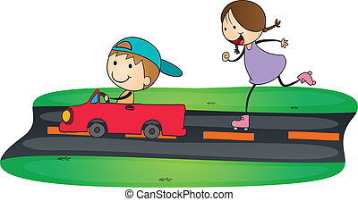 kids and car - illustration of kids and car in a white...