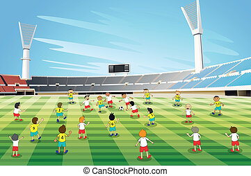 boys playing football - illustration of boys playing...