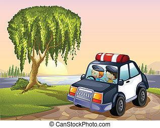 car and kids - illustration of car and kids around tree in a...