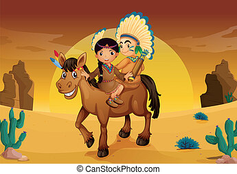 kids and horse - illustration of kids and horse in a desert