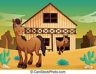 house and horses - illustration of house and horses in a...