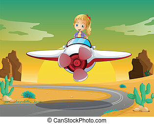 girl in a aircraft