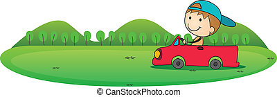 boy and car - illustration of boy and car in a white...