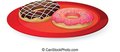 donuts in red dish - illustration on donuts in red dish on...