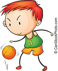 Active kid - Illustration of a young basketballer