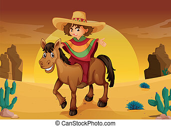 man and horse - illustration of man and horse in a desert