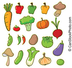 vegetables - illustration of vegetables on a white...