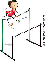 gymnast - Illustration of a girl on the uneven bars