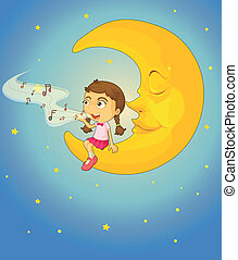 Girl and moon - illustration of a girl and moon in night sky