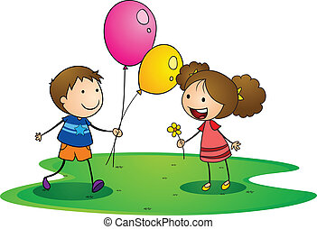 kids with balloons - illustration of a kids on a white...