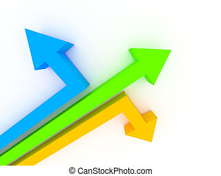 3d arrows showing different directions - 3d rendered image....