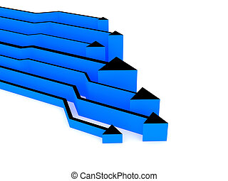3d blue arrows competition - 3d rendered image Concept:...