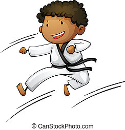 Active kid - Illustration of a young martial artist