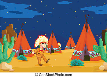 tent house and kid - illustration of a tent house and a kid