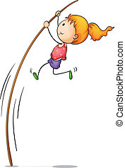 Active kid - Illustration of young pole vaulter