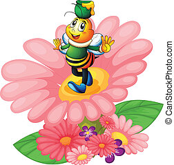 honey bee and flowers - illustration of a honey bee and...