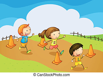 kids running - illustration of a kids running in nature