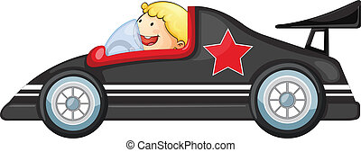 Boy and a racing car - illustration of a boy and racing car...