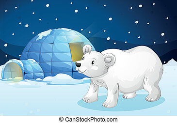 white bear and igloo - illustration of a white bear and...