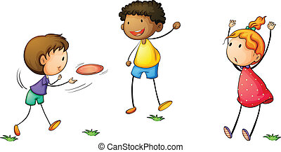 frisby kids - Illustration of simple kids playing