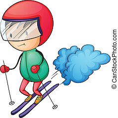 ski boy - Illustration of a boy skiing