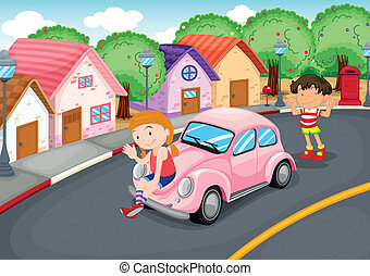 Kids and car - illustration of a kids and car on a road