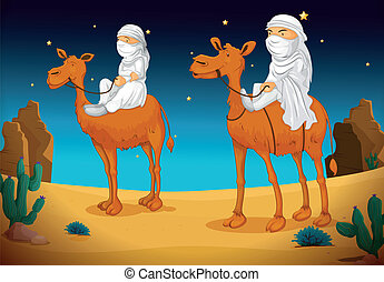 arabs on camel  - illustration of a two arabs on camel