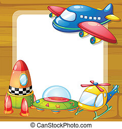 toys and board - illustration of toys and a board on a white...