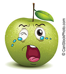 crying apple smiley - illustration of crying apple smiley on...