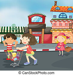 kids on road - illustration of kids on road for outing