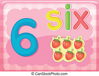 Number cards - Illustrated flash card showing the number 6