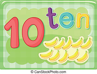 Number cards - Illustrated flash card showing the number 10