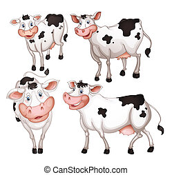 four cows - illustration of four cows on a white background