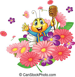 honey bee - illustration of a honey bee in the flowers
