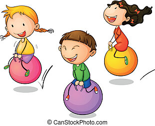 Bounce - Illustration of three bouncing kids