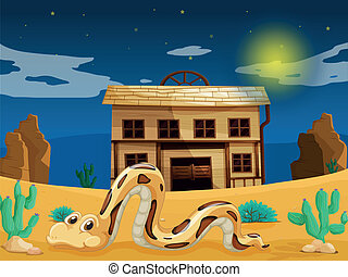 snake in front of house - illustration of a snake in front...