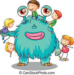 kids playing with monster - illustration of kids playing...