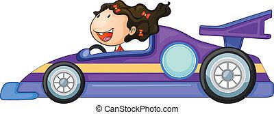 a girl driving a car