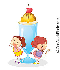girls and ice cream - illustration of girls and ice cream on...