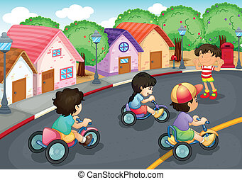 Kids playing on the road - illustration of a kids playing on...