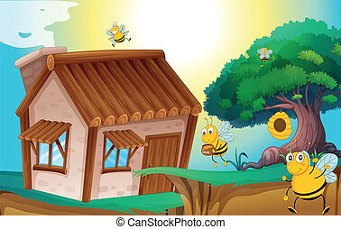 honey bee and house - illustration of a honey bee and a...